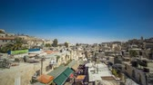bell tower : View from the top of Damascus gate to Jerusalem Old Town timelapse. Israel.