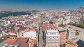sídelní struktura : The view from Galata Tower to Golden Horn and city skyline with red roofs timelapse, Istanbul, Turkey