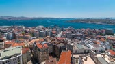 bizantino : The view from Galata Tower to Galata Bridge timelapse Golden Horn, Istanbul, Turkey Vídeos