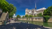Seine and Notre Dame de Paris timelapse hyperlapse is the one of the most famous symbols of Paris Wideo