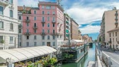 水路 : The Naviglio Grande canal waterway timelapse in Milan, Italy.