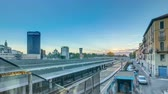 milano : Garibaldi train station at sunset timelapse in Milan, Italy Stock Footage
