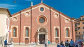 abadia : Santa Maria delle Grazie timelapse with blue cloudy sky.