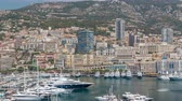 princ : Monte Carlo city aerial panorama timelapse. View of luxury yachts and apartments in harbor of Monaco, Cote dAzur.