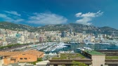elite : Monte Carlo city aerial panorama timelapse hyperlapse. View of luxury yachts and apartments in harbor of Monaco, Cote dAzur.