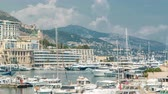 expensive : Monte Carlo city aerial panorama timelapse. View of luxury yachts and buildings in harbor of Monaco, Cote dAzur.