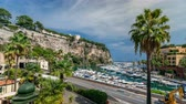 fontvieille : Panoramic view of Fontvieille timelapse - new district of Monaco. Stock Footage