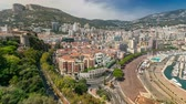 fontvieille : Panorama of Monte Carlo timelapse from the observation deck in the village of Monaco near Port Hercules