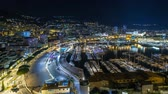 fontvieille : Panorama of Monte Carlo timelapse hyperlapse at night from the observation deck in the village of Monaco with Port Hercules
