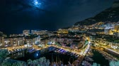 fontvieille : Panoramic view of Fontvieille night timelapse - new district of Monaco.