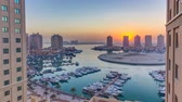 tetőtéri : Sunset at the Pearl-Qatar timelapse from top.