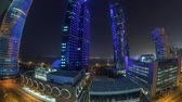 mid air : The skyline of the West Bay area from top in Doha timelapse, Qatar. Stock Footage