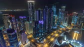 road top view : The skyline of the West Bay area from top in Doha timelapse, Qatar. Stock Footage