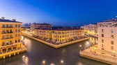魅力 : Canal aerial top view in Venice-like Qanat Quartier of the Pearl precinct of Doha day to night timelapse, Qatar. 動画素材