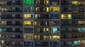 ústředí : Scenic glowing windows of skyscrapers at evening timelapse