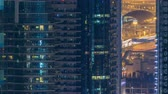arab : Water canal on Dubai Marina skyline at night timelapse.