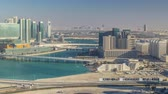 yükseklik : Aerial skyline of Abu Dhabi city centre from above timelapse Stok Video