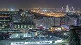 rooftop : Aerial skyline of Abu Dhabi city centre from above night timelapse
