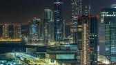 mariah : Aerial skyline of Abu Dhabi city centre from above night timelapse