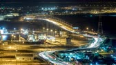 saadiyat : New Sheikh Khalifa Bridge in Abu Dhabi night timelapse, United Arab Emirates
