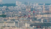 balcone : Aerial panorama above houses rooftops in a Paris day to night timelapse Filmati Stock