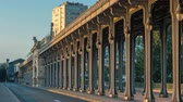colunata : Seine bridge Bir-Hakeim during sunrise timelapse in the center of Paris a beautiful summer morning, Paris, France.