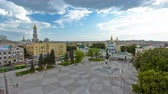 loutka : Aerial view of the Square of Constitution timelapse in the city center Kharkov.