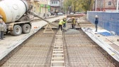 pave : Concrete works for road maintenance construction with many workers and mixer timelapse