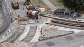 грабли : Concrete works for road maintenance construction with many workers and mixer timelapse