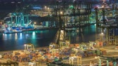 gantry : Commercial port of Singapore night timelapse. Bird eye panoramic view of busiest Asian cargo port Stock Footage