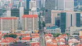 yoğunluk : Aerial view of Chinatown and Downotwn of Singapore in the evening timelapse Stok Video