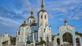 fresk : Orthodox temple of saint Alexander in city Kharkiv Ukraine timelapse hyperlapse. Stok Video