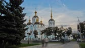 fresk : Orthodox temple of saint Alexander in city Kharkiv Ukraine timelapse.
