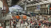 gare : Railway Station with trains and hurrying people in Paris timelapse. Gare de Lyon a Paris, France.