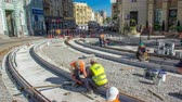 sleepers : Repair works on the street timelapse. Laying of new tram rails on a city street