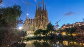 antonio : Sagrada Familia, a large church in Barcelona, Spain day to night timelapse. Stock Footage