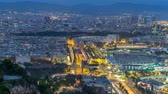 port of barcelona : Aerial view over square Portal de la pau day to night timelapse in Barcelona, Catalonia, Spain. Stock Footage