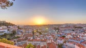 lisboa : Lisbon at sunset aerial panorama view of city centre with red roofs at Autumn evening timelapse, Portugal Stock Footage