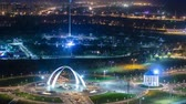 denominou : Park named after the First President of the Republic of Kazakhstan in the city of Aktobe night timelapse. Western Kazakhstan. Stock Footage