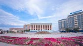 kazak : Theatre Of Makhambet Utemissov in city Atyrau timelapse hyperlapse. Stok Video