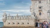 belem : Belem Tower is a fortified tower located in the civil parish of Santa Maria de Belem timelapse in Lisbon, Portugal