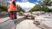 şantiye : Repair works on the street timelapse. Cutting new tram rails on a city street