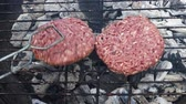 BBQ gill with hamburgers - preparing beef burgers outdoor