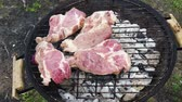 BBQ with meat steaks - grilling meat, place meat on iron grill