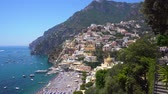 neapol : view of Positano town on the rock - famous old italian resort, Italy