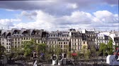 french street : view of vintage roofs, skyline of Paris, France