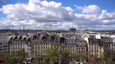 view of vintage houses and roofs, skyline of Paris, France