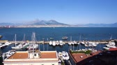 Port of Naples and Vesuvius volcano at summer day, Italy
