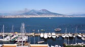 Port of Naples and Vesuvius volcano timelaps, Italy