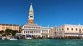 marco : famous San Marco square and lagoon waterfront at sunny day, Venice, Italy Filmati Stock